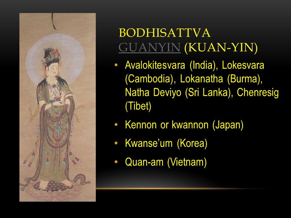 BODHISATTVA GUANYIN (KUAN-YIN) GUANYIN Avalokitesvara (India), Lokesvara (Cambodia), Lokanatha (Burma), Natha Deviyo (Sri Lanka), Chenresig (Tibet) Kennon or kwannon (Japan) Kwanse'um (Korea) Quan-am (Vietnam)