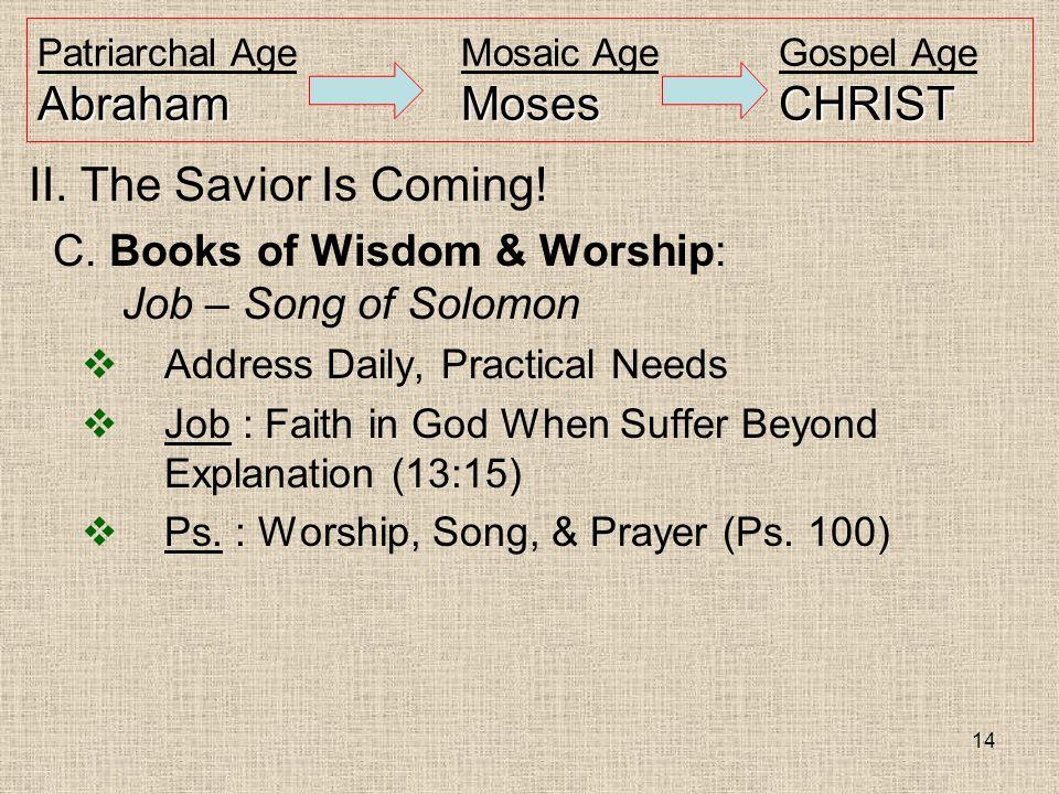 14 AbrahamMosesCHRIST Patriarchal AgeMosaic AgeGospel Age AbrahamMosesCHRIST II.