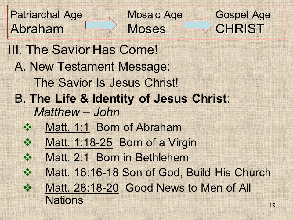 19 AbrahamMosesCHRIST Patriarchal AgeMosaic AgeGospel Age AbrahamMosesCHRIST III. The Savior Has Come! A. New Testament Message: The Savior Is Jesus C