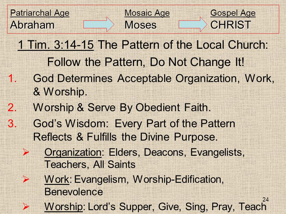 24 AbrahamMosesCHRIST Patriarchal AgeMosaic AgeGospel Age AbrahamMosesCHRIST 1 Tim. 3:14-15 The Pattern of the Local Church: Follow the Pattern, Do No