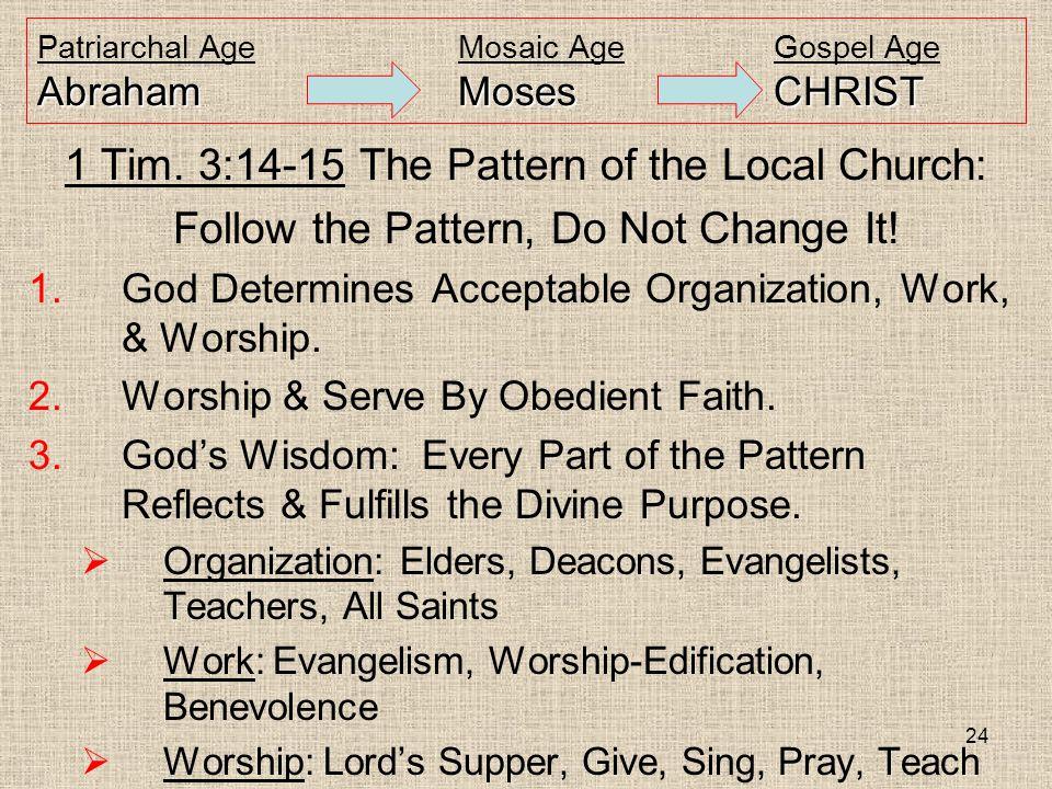 24 AbrahamMosesCHRIST Patriarchal AgeMosaic AgeGospel Age AbrahamMosesCHRIST 1 Tim.