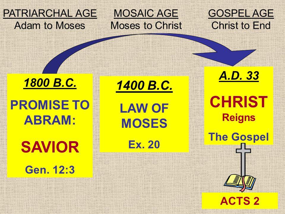 27 1800 B.C. PROMISE TO ABRAM: SAVIOR Gen. 12:3 1400 B.C.