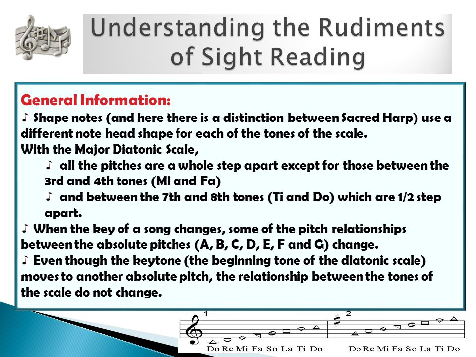 General Information: Shape notes (and here there is a distinction between Sacred Harp) use a different note head shape for each of the tones of the scale.