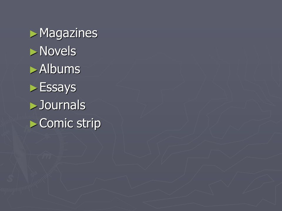 ► Magazines ► Novels ► Albums ► Essays ► Journals ► Comic strip