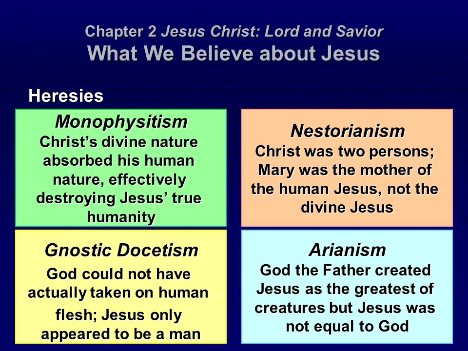 Chapter 2 Jesus Christ: Lord and Savior What We Believe about Jesus Heresies Gnostic Docetism God could not have actually taken on human flesh; Jesus