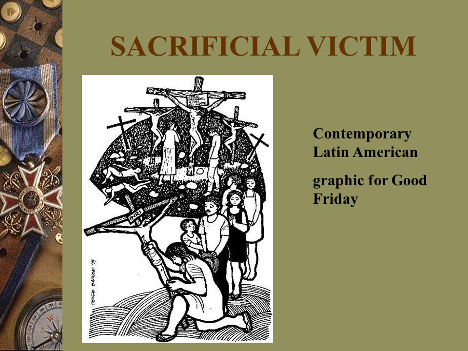 SACRIFICIAL VICTIM Contemporary Latin American graphic for Good Friday