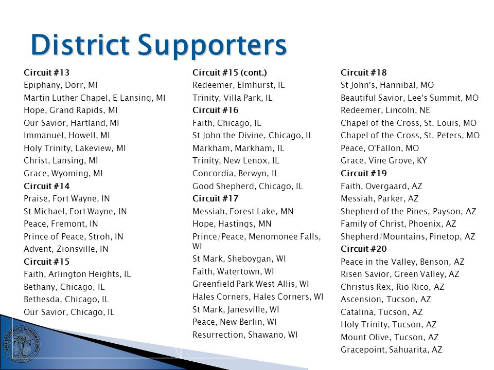 District Supporters Circuit #1 Bethany, Ewing, NJ Martin Luther Chapel, Pennsauken, NJ Messiah, Princeton, NJ Trinity, Scarsdale, NY Our Saviour, Valley Stream, NY Circuit #2 Gloria Dei, Blue Bell, PA Mt.
