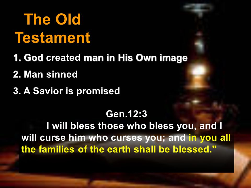 The Old Testament 1. God man in His Own image 1. God created man in His Own image 2.