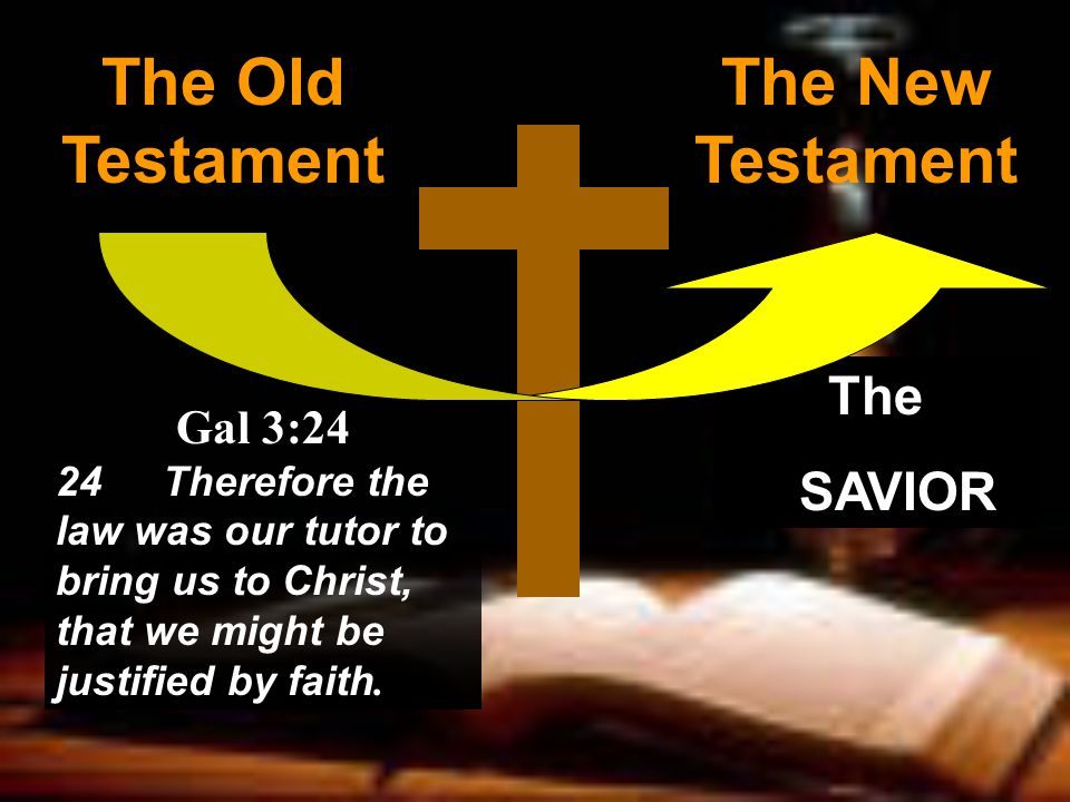 The Old Testament The New Testament Gal 3:24 24Therefore the law was our tutor to bring us to Christ, that we might be justified by faith.