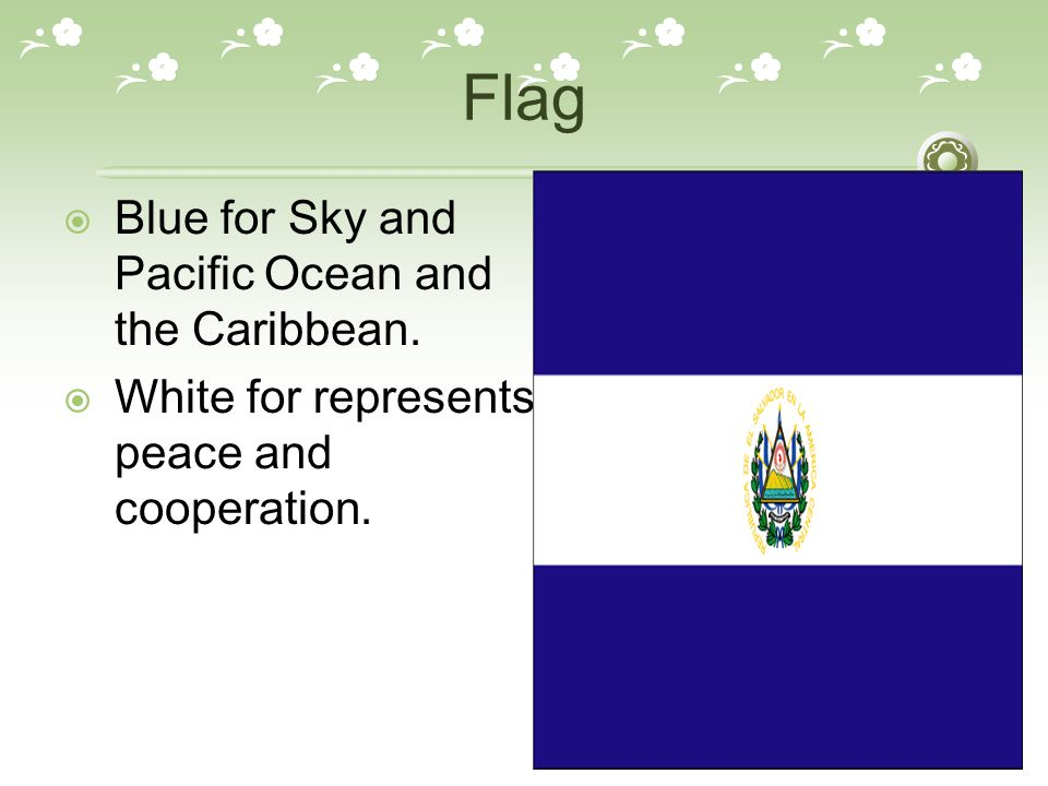 Flag  Blue for Sky and Pacific Ocean and the Caribbean.