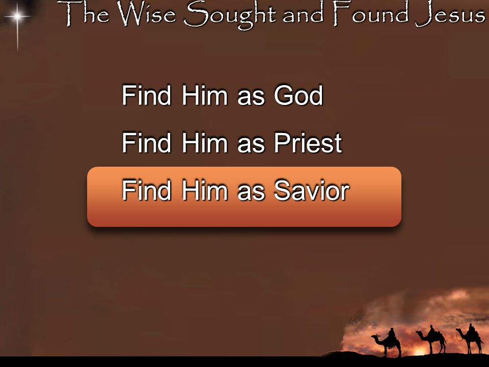 The Wise Sought and Found Jesus Find Him as God Find Him as Priest Find Him as Savior