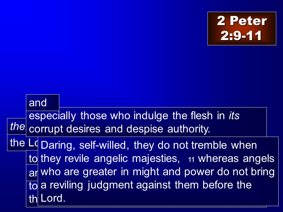 the Lord knows how then to rescue the godly from temptation to keep the unrighteous under punishment for the day of judgment, and 2 Peter 2:9-11 especially those who indulge the flesh in its corrupt desires and despise authority.