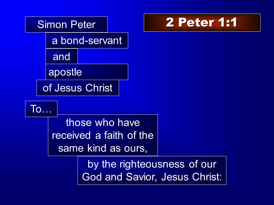 Simon Peter a bond-servant those who have received a faith of the same kind as ours, by the righteousness of our God and Savior, Jesus Christ: To… and 2 Peter 1:1 apostle of Jesus Christ