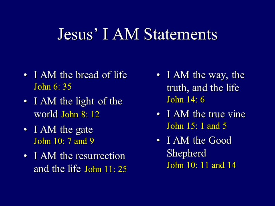 Jesus' I AM Statements I AM the bread of life John 6: 35 I AM the light of the world John 8: 12 I AM the gate John 10: 7 and 9 I AM the resurrection and the life John 11: 25 I AM the bread of life John 6: 35 I AM the light of the world John 8: 12 I AM the gate John 10: 7 and 9 I AM the resurrection and the life John 11: 25 I AM the way, the truth, and the life John 14: 6 I AM the true vine John 15: 1 and 5 I AM the Good Shepherd John 10: 11 and 14 I AM the way, the truth, and the life John 14: 6 I AM the true vine John 15: 1 and 5 I AM the Good Shepherd John 10: 11 and 14