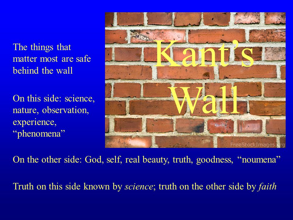 The things that matter most are safe behind the wall On this side: science, nature, observation, experience, phenomena On the other side: God, self, real beauty, truth, goodness, noumena Truth on this side known by science; truth on the other side by faith Kant's Wall