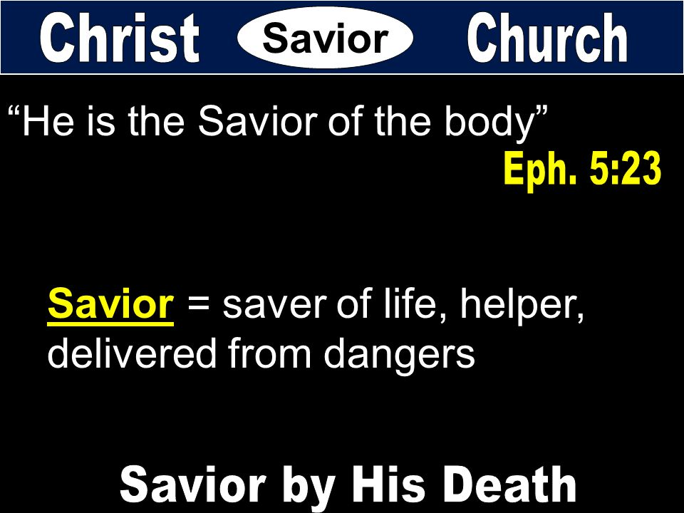 """He is the Savior of the body"" Savior = saver of life, helper, delivered from dangers Savior"