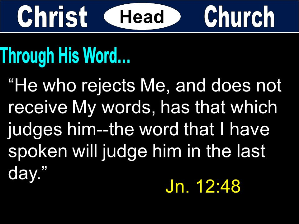 """He who rejects Me, and does not receive My words, has that which judges him--the word that I have spoken will judge him in the last day."" Head Jn. 12"