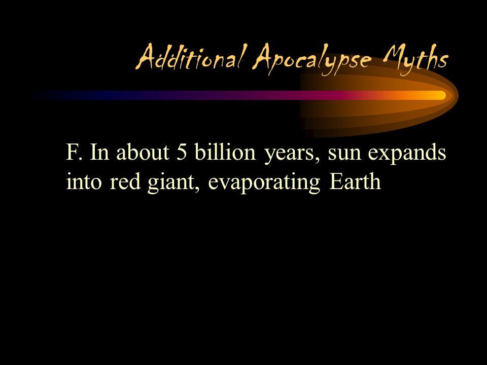 Additional Apocalypse Myths E. Sun is increasing luminosity, too hot within 1 billion years