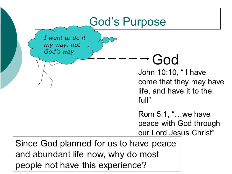 "God's Purpose God John 10:10, "" I have come that they may have life, and have it to the full"" Rom 5:1, ""…we have peace with God through our Lord Jesus"