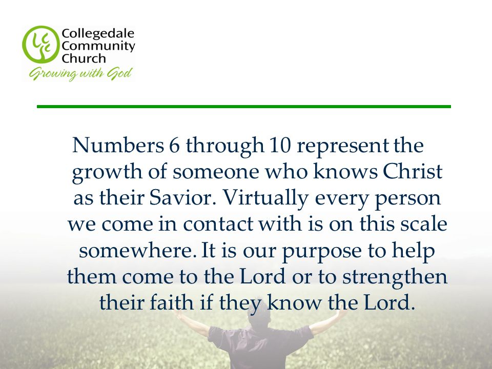 Numbers 6 through 10 represent the growth of someone who knows Christ as their Savior.