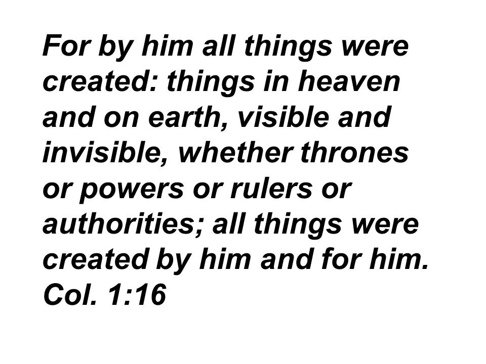 For by him all things were created: things in heaven and on earth, visible and invisible, whether thrones or powers or rulers or authorities; all things were created by him and for him.