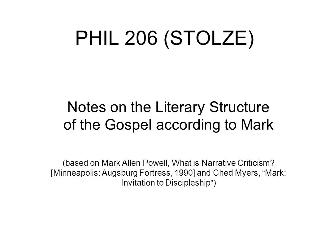 The Main Plot (and Three Subplots) of the Gospel of Mark Main Plot = Jesus' messianic mission (properly understood as one of suffering and death not political/military triumph!) First Subplot = Jesus' attempts to create and consolidate a discipleship community (the Kingdom of God as the construction of an alternative social order) Second Subplot = Jesus' liberative ministry of healing, exorcism, and proclamation (solidarity with the poor) Third Subplot = Jesus' confrontation with the dominant social order