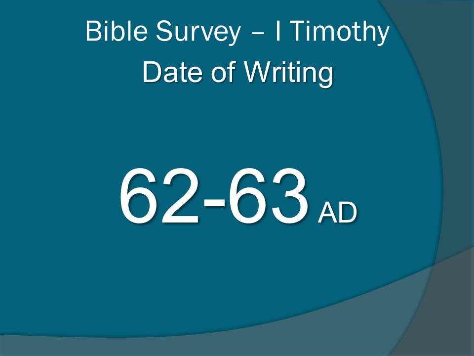 Bible Survey – I Timothy The Believer's Example 1 Timothy 6:13-14 I charge you in the presence of God, who gives life to all things, and of Christ Jesus, who testified the good confession before Pontius Pilate, 14 that you keep the commandment….