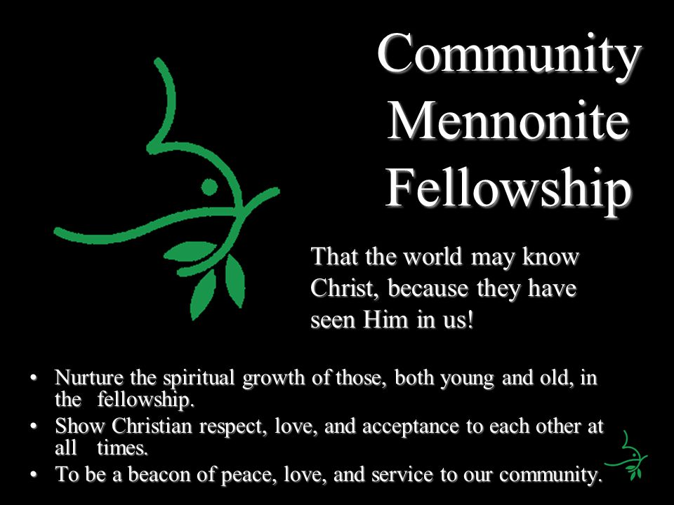 Community Mennonite Fellowship Nurture the spiritual growth of those, both young and old, in the fellowship.Nurture the spiritual growth of those, both young and old, in the fellowship.