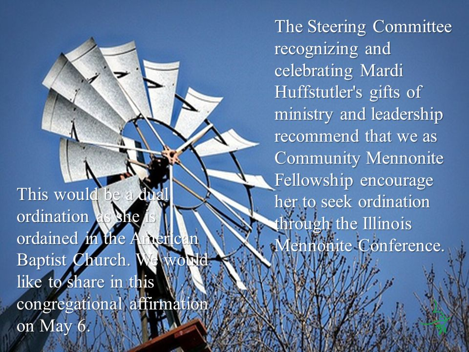 The Steering Committee recognizing and celebrating Mardi Huffstutler s gifts of ministry and leadership recommend that we as Community Mennonite Fellowship encourage her to seek ordination through the Illinois Mennonite Conference.