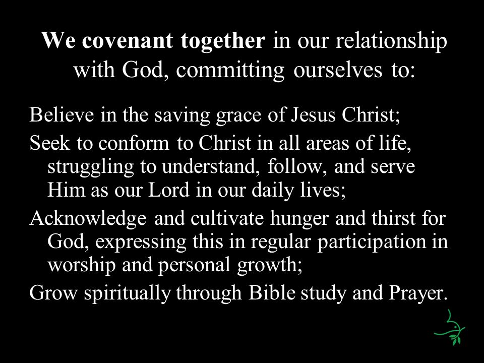 We covenant together in our relationship with God, committing ourselves to: Believe in the saving grace of Jesus Christ; Seek to conform to Christ in all areas of life, struggling to understand, follow, and serve Him as our Lord in our daily lives; Acknowledge and cultivate hunger and thirst for God, expressing this in regular participation in worship and personal growth; Grow spiritually through Bible study and Prayer.
