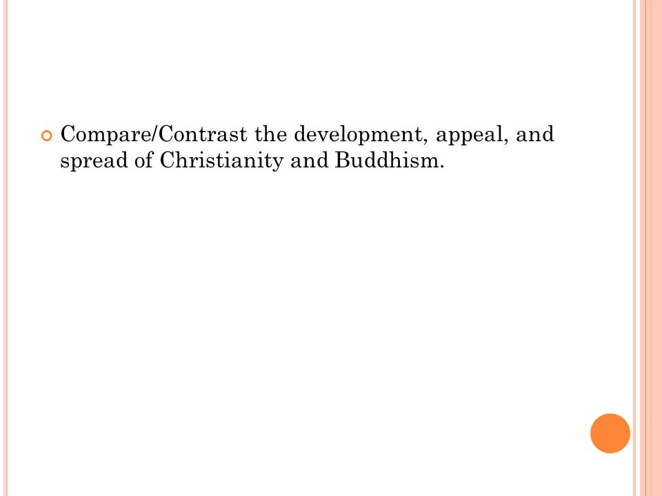 Compare/Contrast the development, appeal, and spread of Christianity and Buddhism.