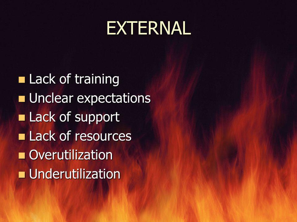 EXTERNAL Lack of training Lack of training Unclear expectations Unclear expectations Lack of support Lack of support Lack of resources Lack of resourc