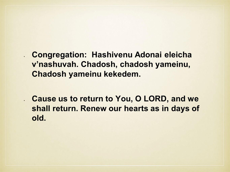Congregation: Hashivenu Adonai eleicha v'nashuvah.