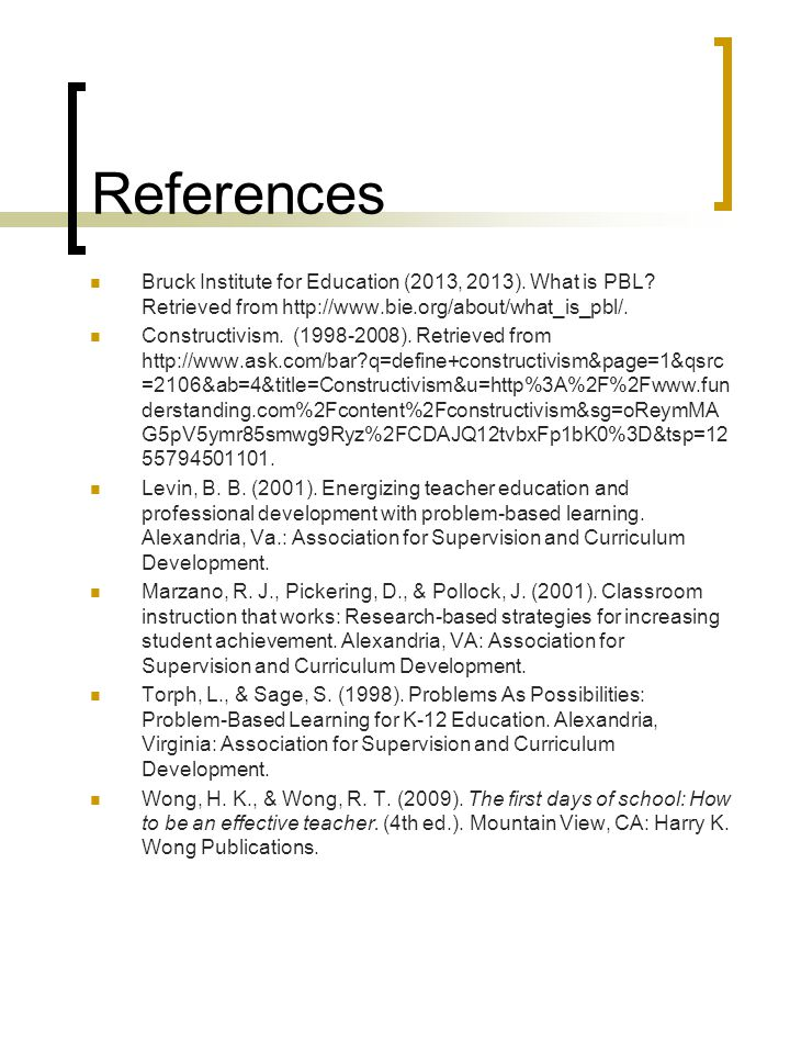 References Bruck Institute for Education (2013, 2013).