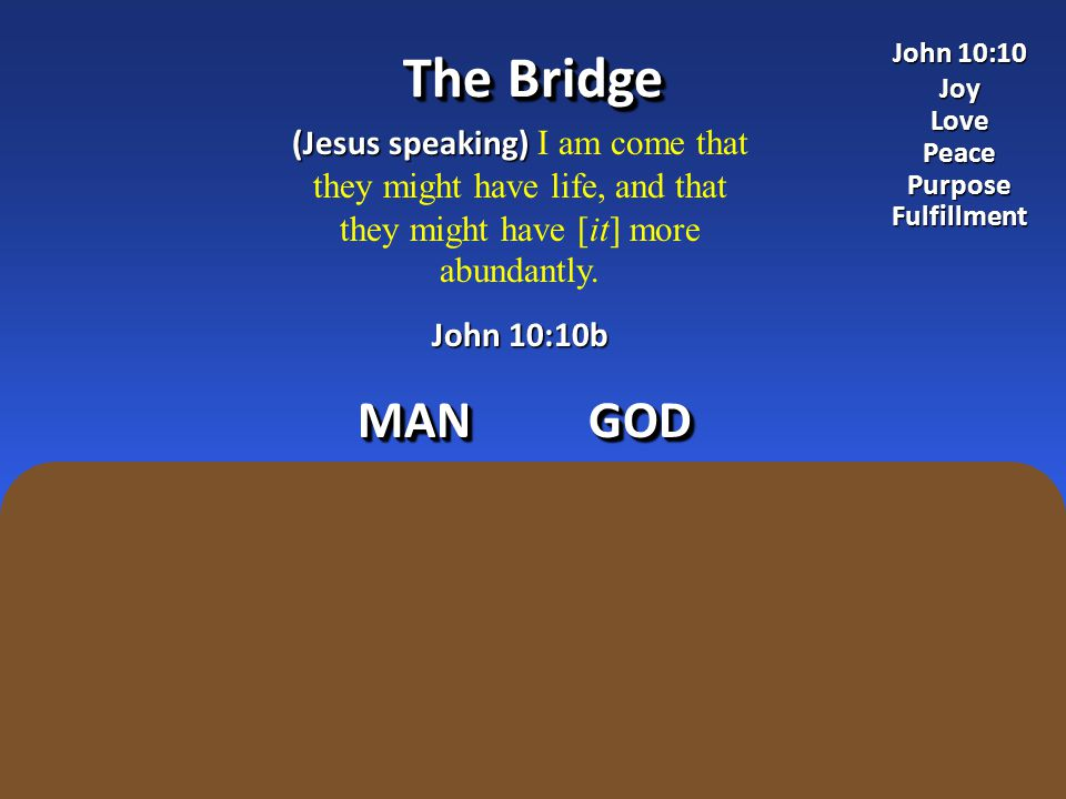 The Bridge (Jesus speaking) (Jesus speaking) I am come that they might have life, and that they might have [it] more abundantly.