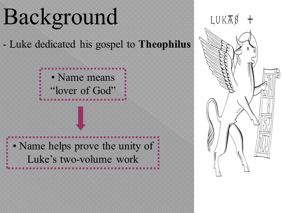 Background - In his opening gospel address to Theophilus, Luke states his reasons for writing: He wants to show Theophilus and all readers that the instruction in the Christian faith was sound.