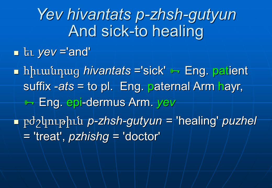 Yev hivantats p-zhsh-gutyun And sick-to healing եւ yev ='and' եւ yev ='and' հիւանդաց hivantats ='sick'  Eng. patient suffix -ats = to pl. Eng. patern
