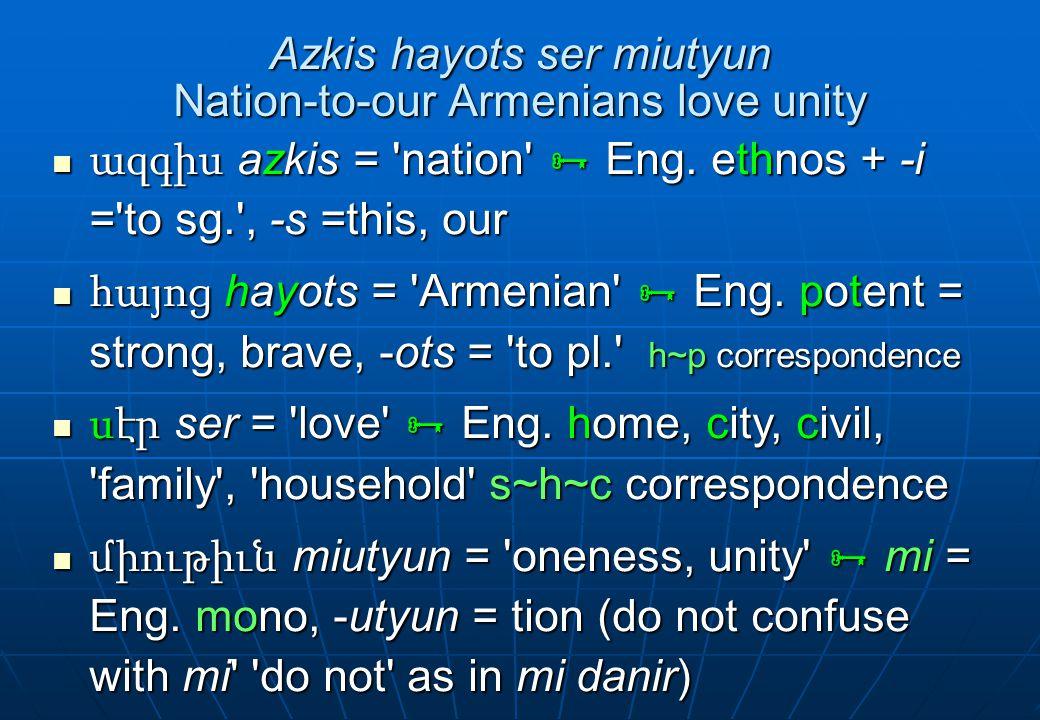 Azkis hayots ser miutyun Nation-to-our Armenians love unity ազգիս azkis = 'nation'  Eng. ethnos + -i ='to sg.', -s =this, our ազգիս azkis = 'nation'