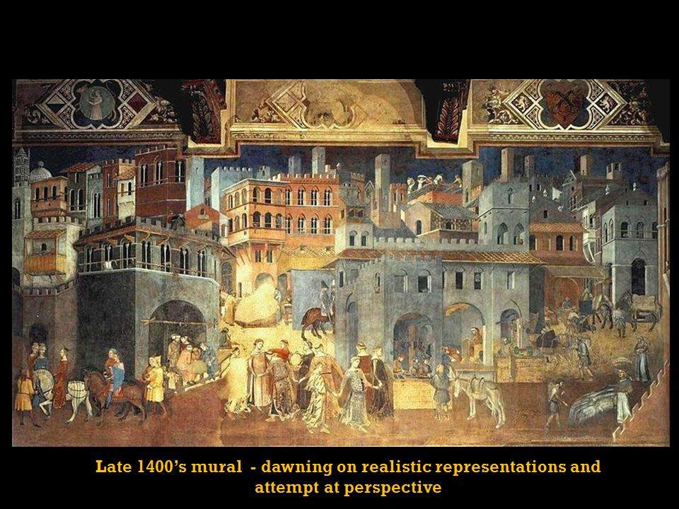Late 1400's mural - dawning on realistic representations and attempt at perspective