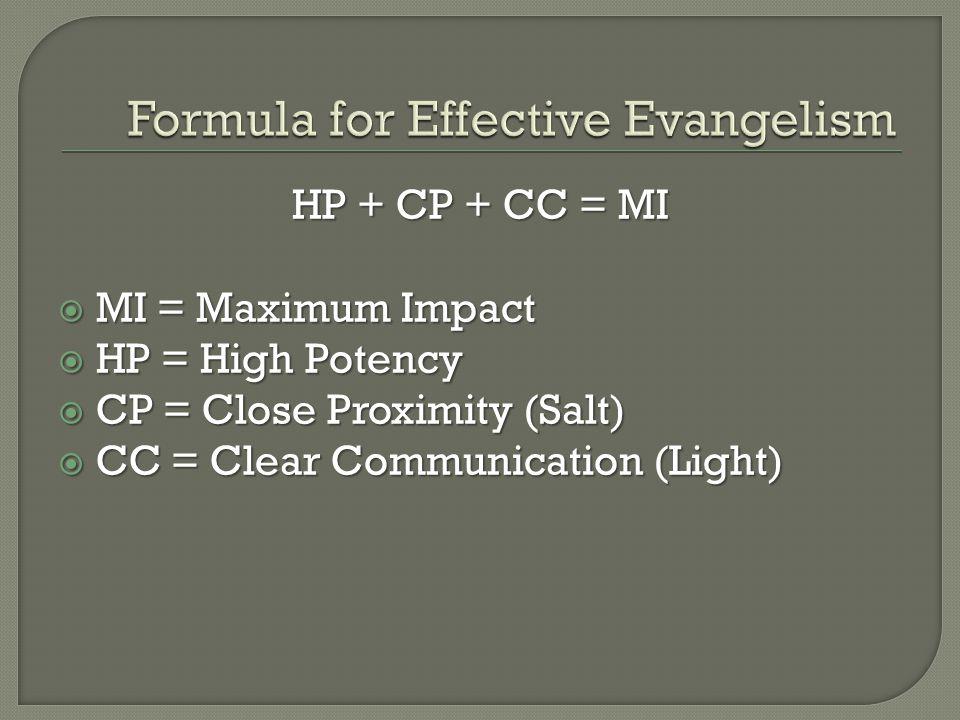 HP + CP + CC = MI  MI = Maximum Impact  HP = High Potency  CP = Close Proximity (Salt)  CC = Clear Communication (Light)