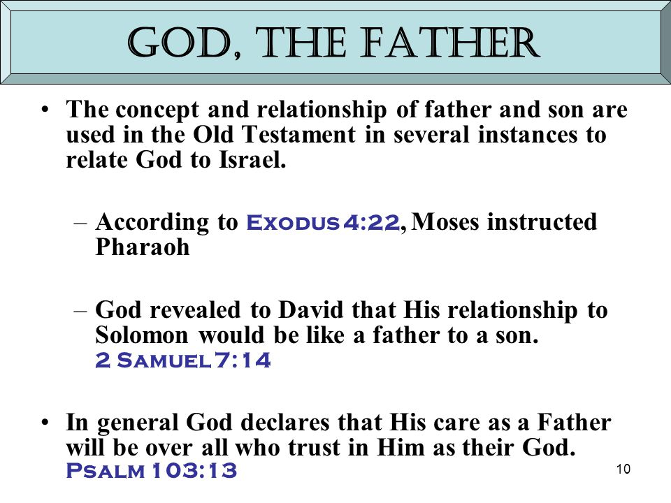 10 God, the Father The concept and relationship of father and son are used in the Old Testament in several instances to relate God to Israel. –Accordi