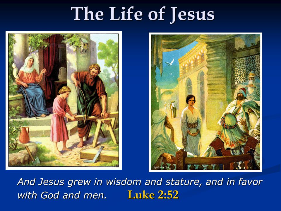 The Life of Jesus And Jesus grew in wisdom and stature, and in favor with God and men. Luke 2:52