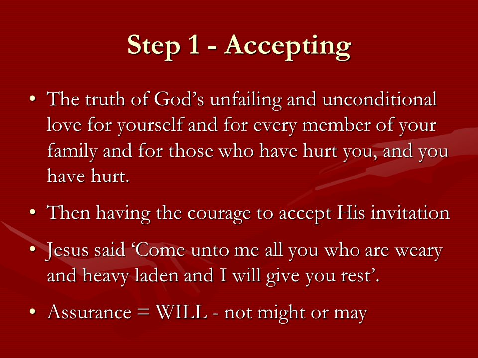 Step 2 - Forgiveness Until we want and consciously accept God's forgiveness we can never really understand what true forgiveness is.