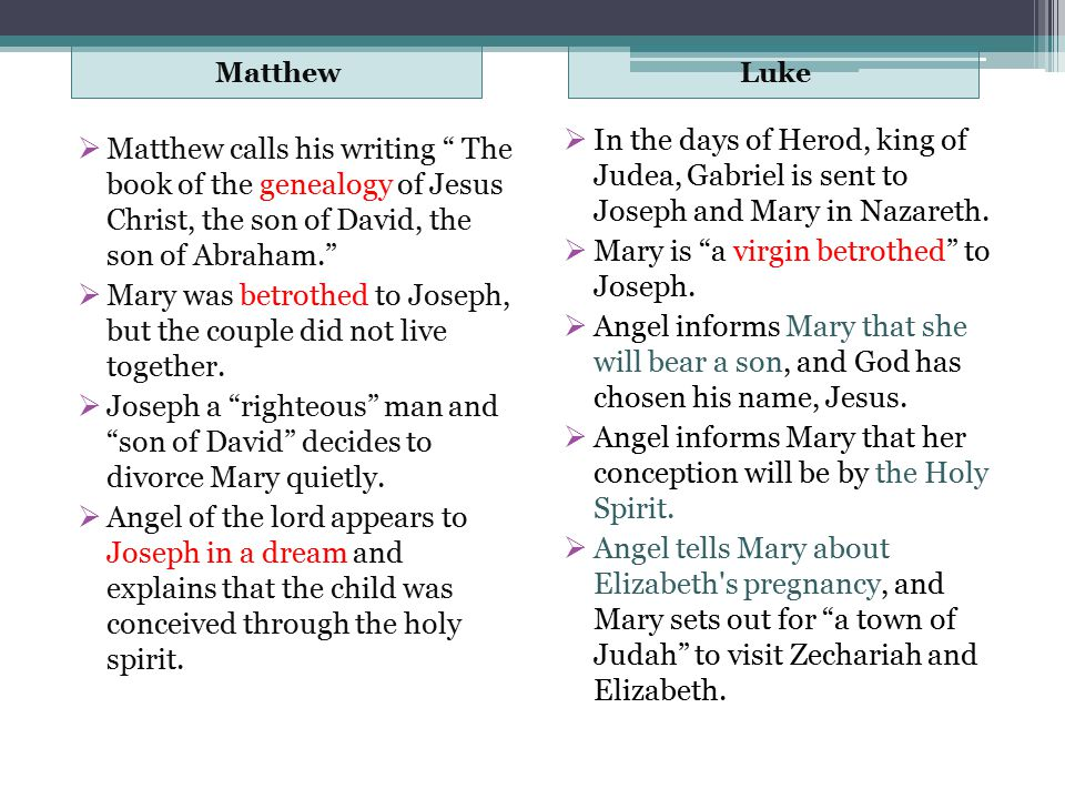 "MatthewLuke  Matthew calls his writing "" The book of the genealogy of Jesus Christ, the son of David, the son of Abraham.""  Mary was betrothed to Jo"