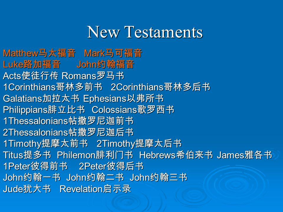 New Testaments New Testaments Matthew 马太福音 Mark 马可福音 Luke 路加福音 John 约翰福音 Acts 使徒行传 Romans 罗马书 1Corinthians 哥林多前书 2Corinthians 哥林多后书 Galatians 加拉太书 Ephesians 以弗所书 Philippians 腓立比书 Colossians 歌罗西书 1Thessalonians 帖撒罗尼迦前书 2Thessalonians 帖撒罗尼迦后书 1Timothy 提摩太前书 2Timothy 提摩太后书 Titus 提多书 Philemon 腓利门书 Hebrews 希伯来书 James 雅各书 1Peter 彼得前书 2Peter 彼得后书 John 约翰一书 John 约翰二书 John 约翰三书 Jude 犹大书 Revelation 启示录