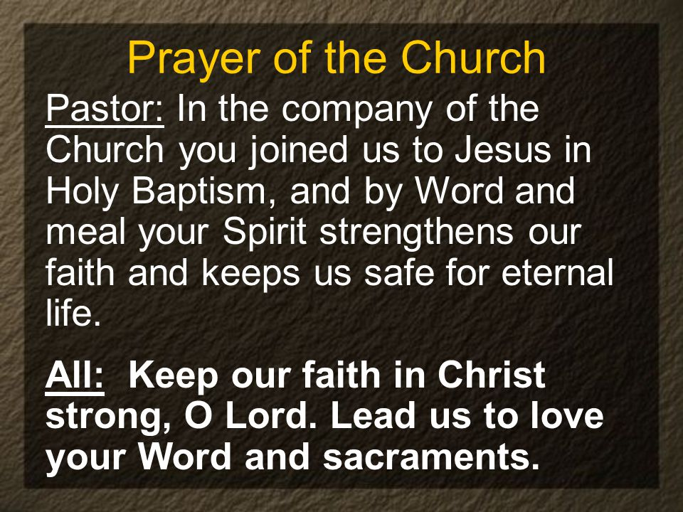 Prayer of the Church Pastor: In the company of the Church you joined us to Jesus in Holy Baptism, and by Word and meal your Spirit strengthens our faith and keeps us safe for eternal life.