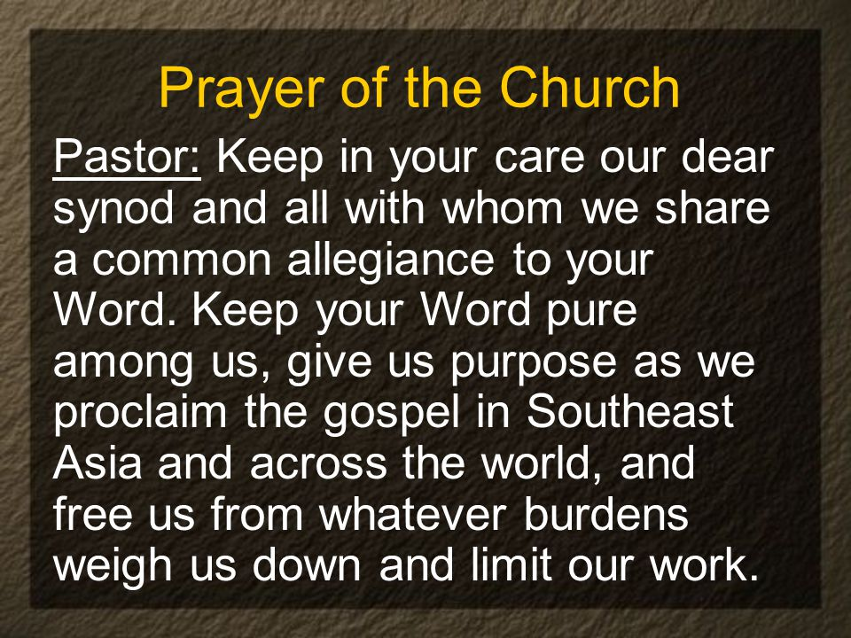 Prayer of the Church Pastor: Keep in your care our dear synod and all with whom we share a common allegiance to your Word.