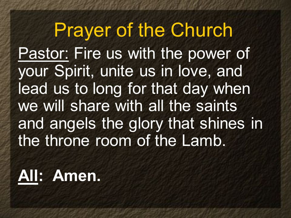 Prayer of the Church Pastor: Fire us with the power of your Spirit, unite us in love, and lead us to long for that day when we will share with all the saints and angels the glory that shines in the throne room of the Lamb.