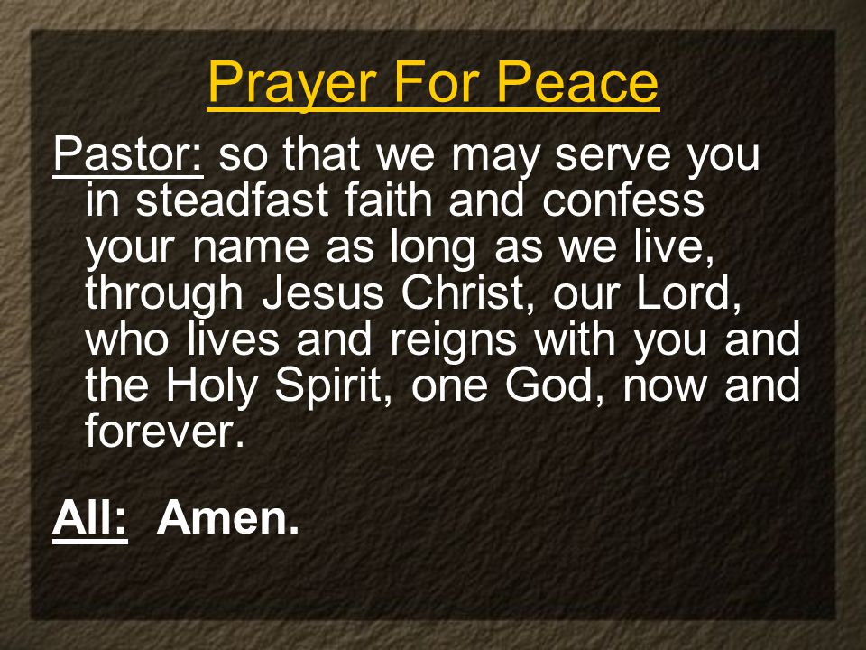 Pastor: so that we may serve you in steadfast faith and confess your name as long as we live, through Jesus Christ, our Lord, who lives and reigns with you and the Holy Spirit, one God, now and forever.