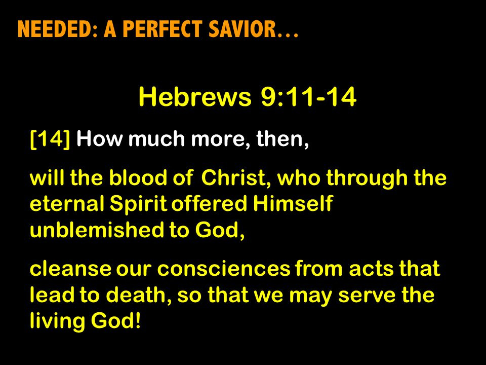 NEEDED: A PERFECT SAVIOR… Hebrews 9:11-14 [14] How much more, then, will the blood of Christ, who through the eternal Spirit offered Himself unblemished to God, cleanse our consciences from acts that lead to death, so that we may serve the living God!